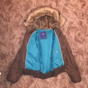 American Eagle Brown Puffy Jacket With Fur Hood